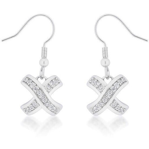 Cara 3ct CZ White Gold Rhodium Timeless Pave Drop Earrings
