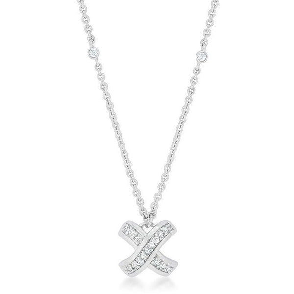 Cara 1.5ct CZ White Gold Rhodium Timeless Pave Drop Necklace