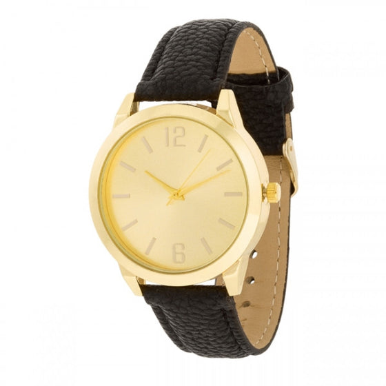 Annalese 14k Gold Black Leather Watch