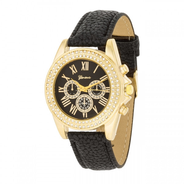 Charlotte Crystal 14k Gold Black Leather Watch