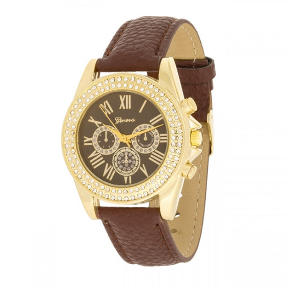 Charlotte Crystal 14k Gold Brown Leather Watch