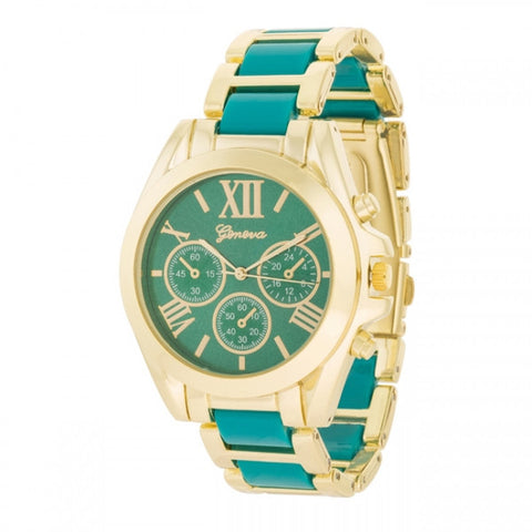 Cristina 14k Gold Teal Watch