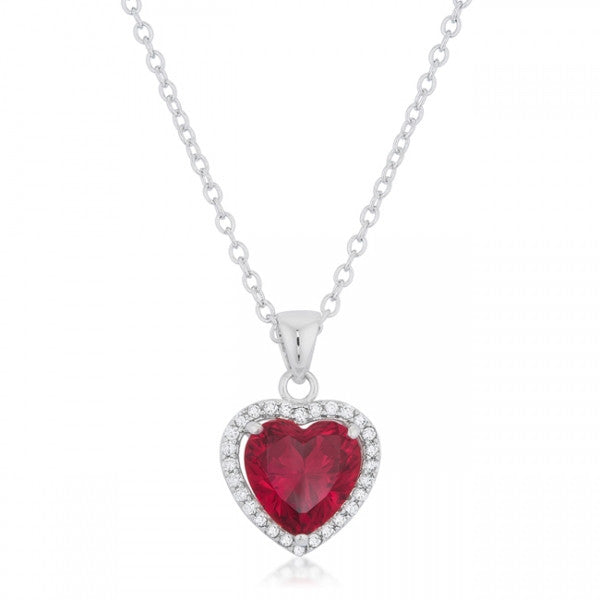 Meredith 5ct Ruby CZ White Gold Rhodium Heart Pendant