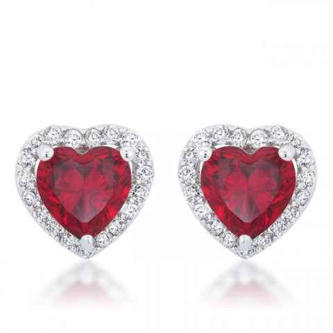 Meredith 2ct Ruby CZ White Gold Rhodium Heart Earrings