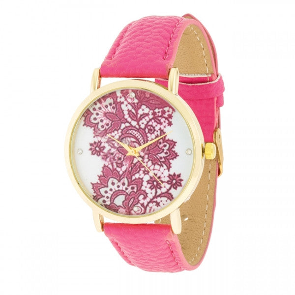 Gold Watch With Floral Print Dial