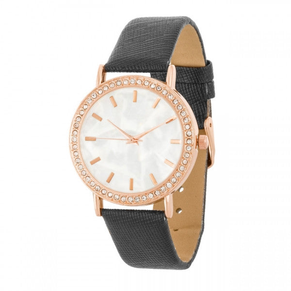 Rina Rose Gold Black Leather Watch