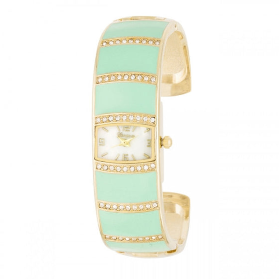 Beatrice Gold Crystal Cuff Mint Watch