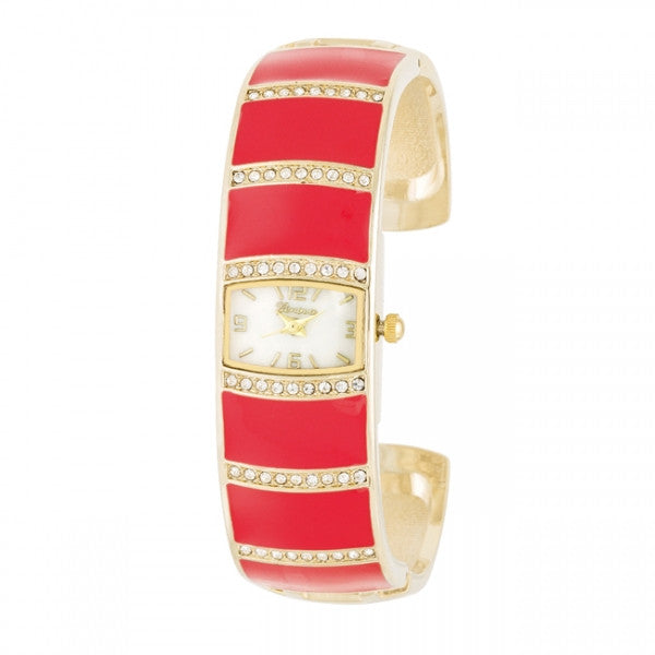 Beatrice Gold Crystal Cuff Pink Watch