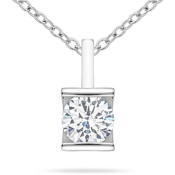 Fifi 1ct CZ White Gold Pendant Necklace
