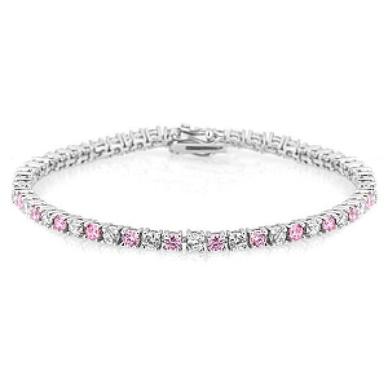 Fara 5ct Pink Crystal White Gold Rhodium Tennis Bracelet