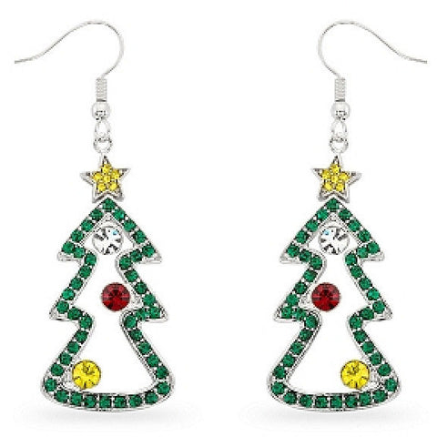 Noelle Multicolor Crystal White Gold Rhodium Tree Drop Earrings