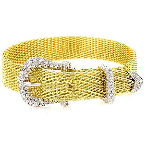 Mischa Crystal Two-Tone Belt Bracelet