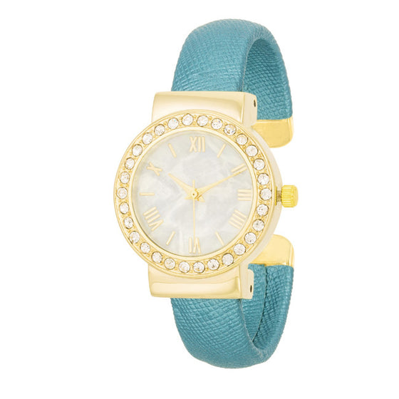 Rhonda Teal Fashion Shell Pearl Cuff Watch With Crystals