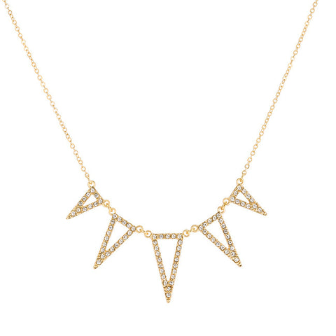 Crystal Gold Triangle Statement Necklace