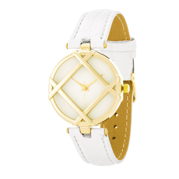 Callie White And Gold Fashion Watch With Leather Band