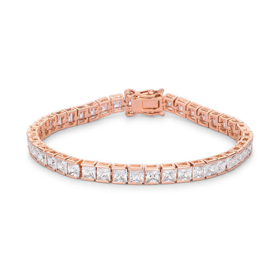 9.7Ct Princess Cut 7in CZ Rose Goldtone Bracelet
