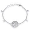 .5 Ct Rhodium Bracelet with Interlocking Circles and Cubic Zirconia