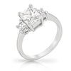 Abigale 2ct CZ White Gold Rhodium Emerald Trio Ring