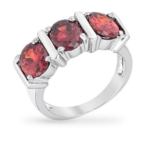 Alice 5ct CZ Ruby White Gold Rhodium Trio Ring