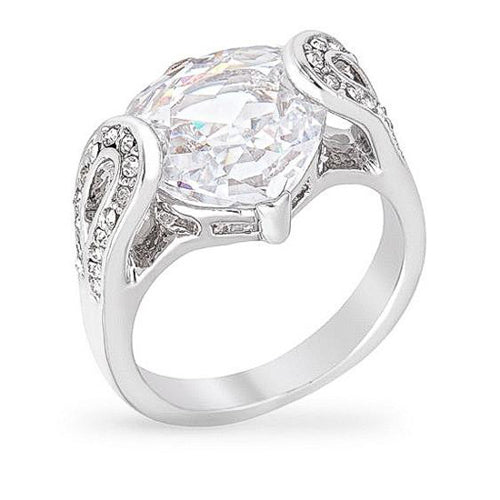 Harper 5ct CZ White Gold Rhodium Rounded Trillion Ring