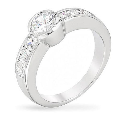 Abie 1ct CZ White Gold Rhodium Channel Set Ring