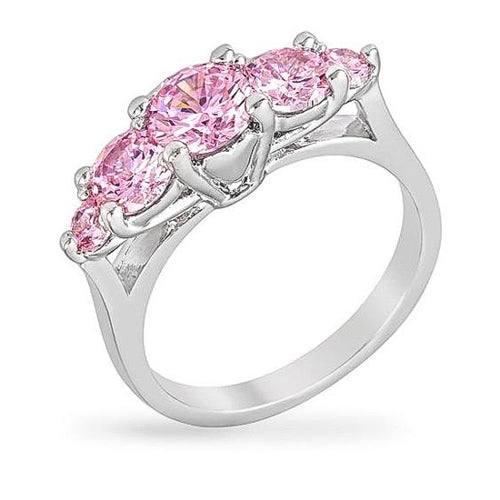 Lyra 1.5ct Pink CZ White Gold Rhodium Ring