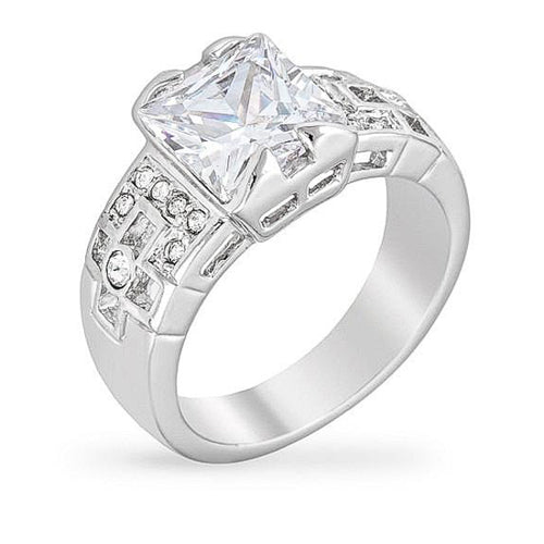 Nadine 4ct CZ White Gold Rhodium Ring