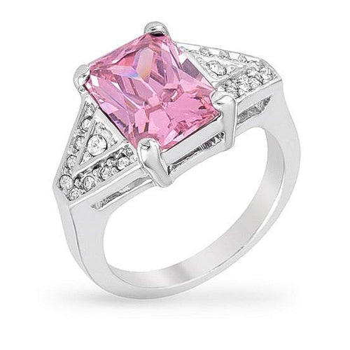 Kaylee 3ct Pink CZ White Gold Rhodium Ring