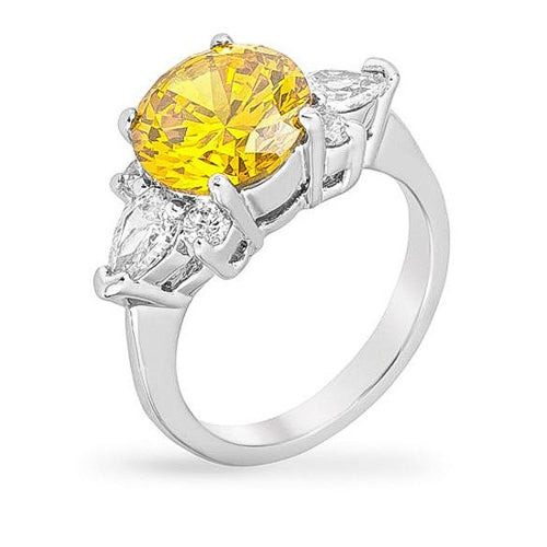 Jina 4ct Yellow CZ White Gold Rhodium Ring
