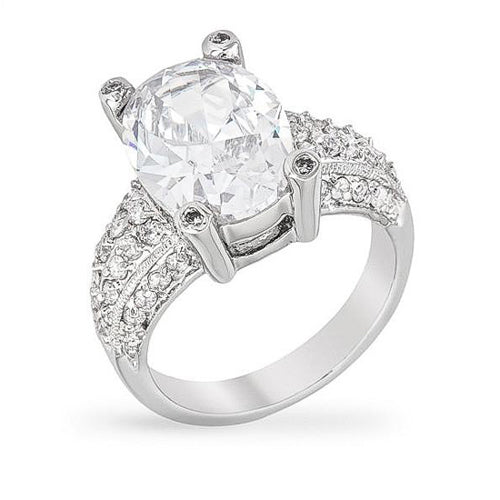 Maeve 8ct CZ White Gold Rhodium Ring