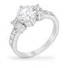 Claire 4ct CZ White Gold Rhodium Classic Ring