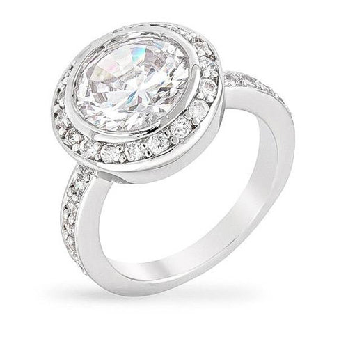 Linda 5.5ct CZ White Gold Rhodium Ring
