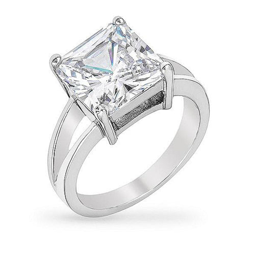 Daria 5ct CZ White Gold Rhodium Ring