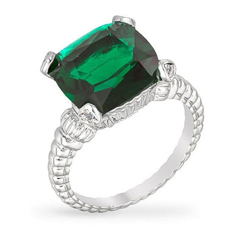 Misty 8ct Emerald CZ White Gold Rhodium Cushion Cable Ring