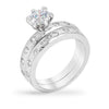 Rihanna 3ct CZ White Gold Rhodium Ring Set