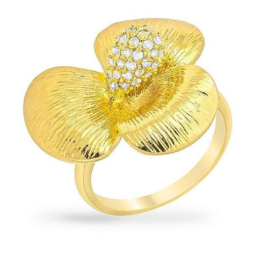Rochelle 14k Gold Floral Cocktail Ring