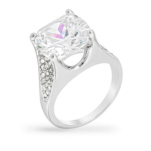 Paula 9ct CZ White Gold Rhodium Cocktail Ring