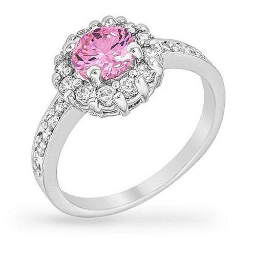 Emmelina 2.5ct Pink CZ White Gold Rhodium Floral Ring