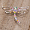 Rhodium Multicolor Dragonfly Brooch With Crystals