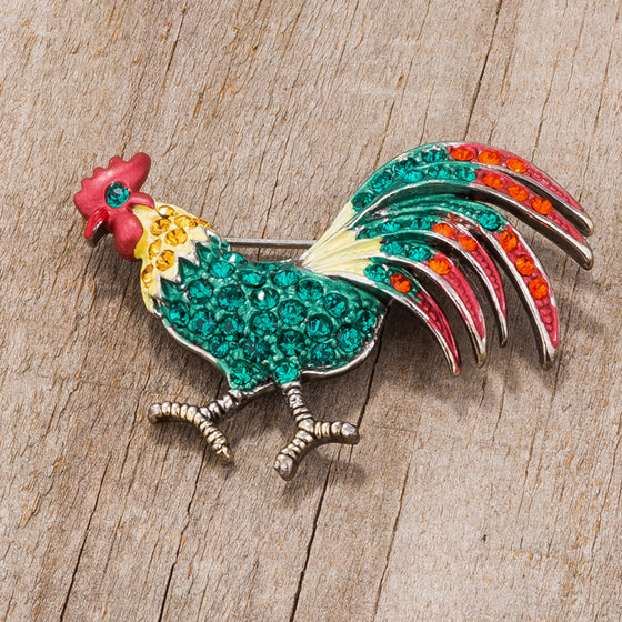 Antiqued Rooster Brooch With Crystals