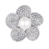 Silvertone Flower Brooch with Pearl and Crystal Accents
