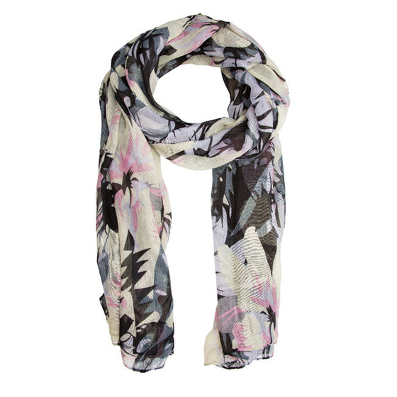 Black Sally Large Floral Print Scarf