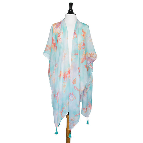 Mint Gloria Botanical Cover Up Shawl With Tassels