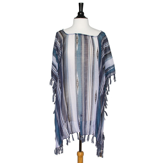 Grey Janna Striped Lightweight Poncho