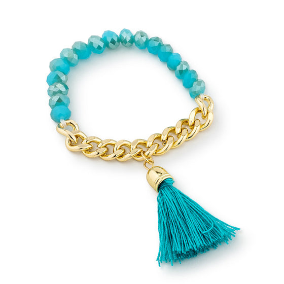 Clara Mint Stretch Gold Chain Tassel Bracelet
