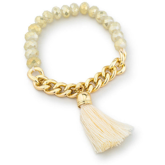 Clara White Stretch Gold Chain Tassel Bracelet