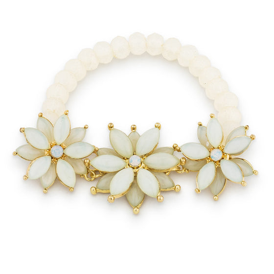 Fiona White Stretch Floral Bracelet