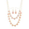 Selena Pink Statement Layer Gold Necklace And Drop Earring Set