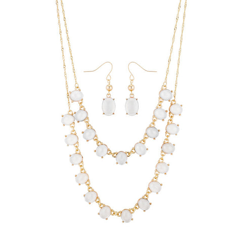 Selena White Statement Layer Gold Necklace And Drop Earring Set