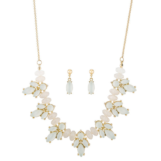 Lyla White Statement Floral Gold Necklace And Drop Earring Set